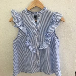 Striped and ruffled Topshop sleeveless blouse